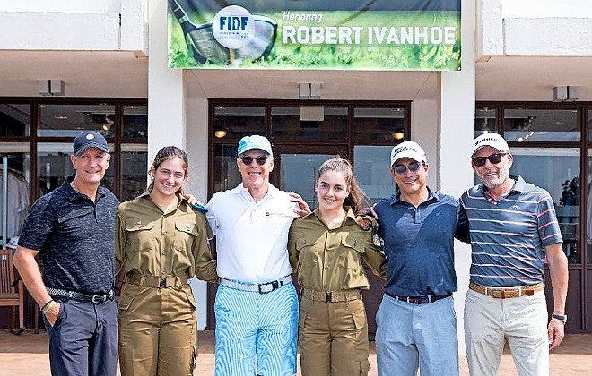 From left: Real Estate Division Co-Chairman Marty Berger, IDF Corporal Eden, Honoree Robert Ivanhoe of Greenberg Traurig LLP, IDF Private Alya, Real Estate Division Co-Chairman Chuck Rosenzweig, and FIDF NY Affinity Groups Chairman Ofer Yardeni.