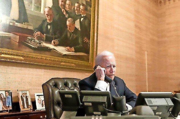 President Joe Biden in the Treaty Room of the White House on Feb. 18.