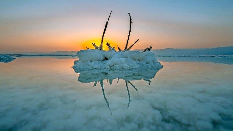 Salt formations on the Dead Sea shore in 2020.