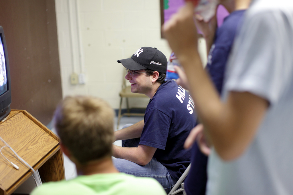 Yigal Rosengarten, 19, plays video games with fellow counselors at Hillel Day Camp, Thursday, July 22, 2010.