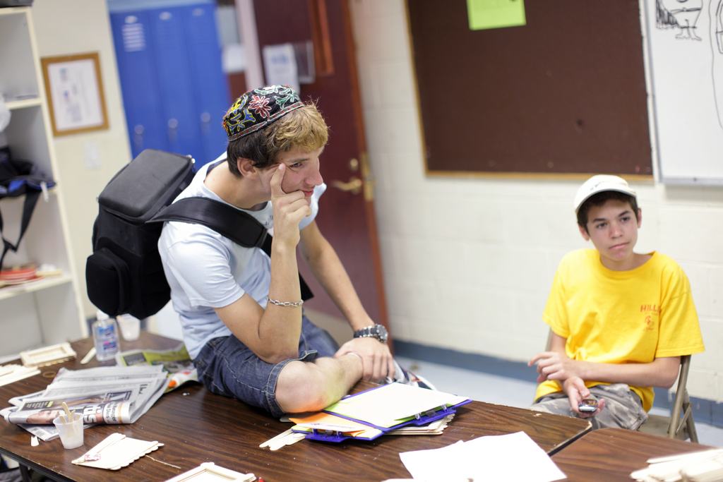 Camp counselor Mark Weingarten, 20, left, is pictured with Alex Penello, 14, at Hillel Day Camp, Thursday, July 22, 2010.