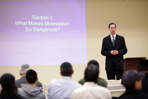 Barry Horowitz, of OHEL Childrens' Home and Family Services talks about child molestation at Congregation Aish Kodesh in Woodmere, June 9, 2010.