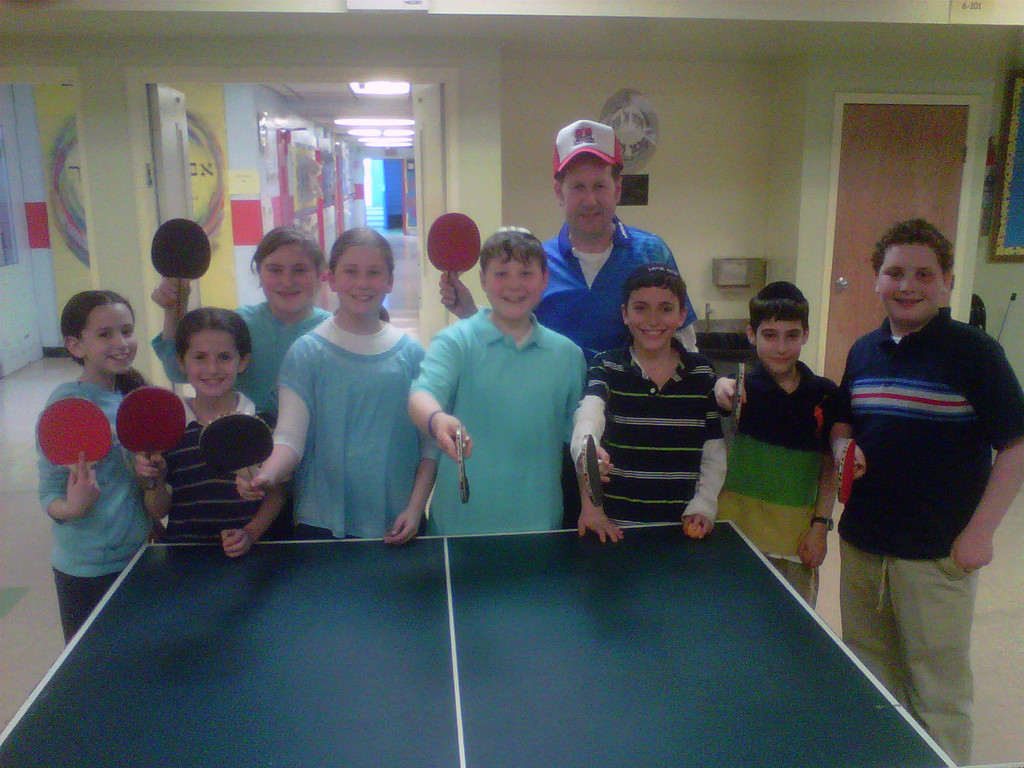 Jewish Table Tennis director Glenn Ackerman and Hebrew Academy of Nassau County participants.