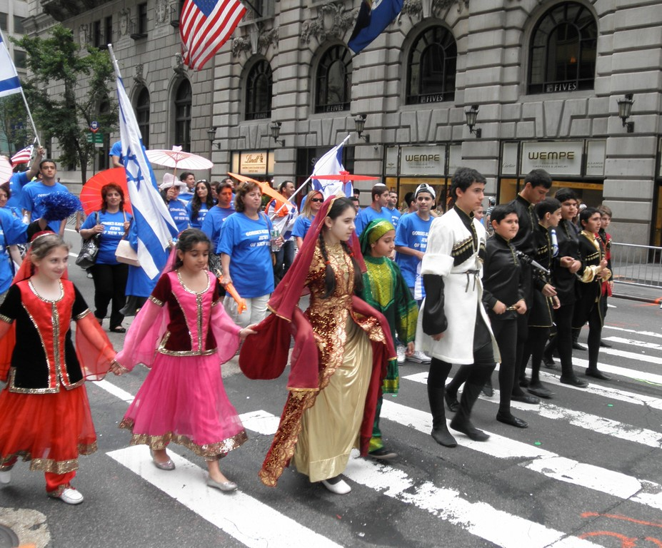 Gorsky-Kavkazi Jews from Brooklyn marched with an ensemble of young performers in traditional outfits from