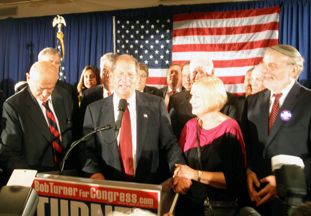 Winner Bob Turner, flanked by top supporters Ed Koch, Rep. Peter King, Turner's wife Peggy, and State Assemblyman Dov Hikind on election night. The race was widely viewed as a local referendum on President Obama's policies.