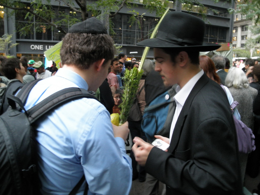Politically neutral Chabad shlichim wandered through the massive crowd, looking for Jewish demonstrators to perform mitzvot.