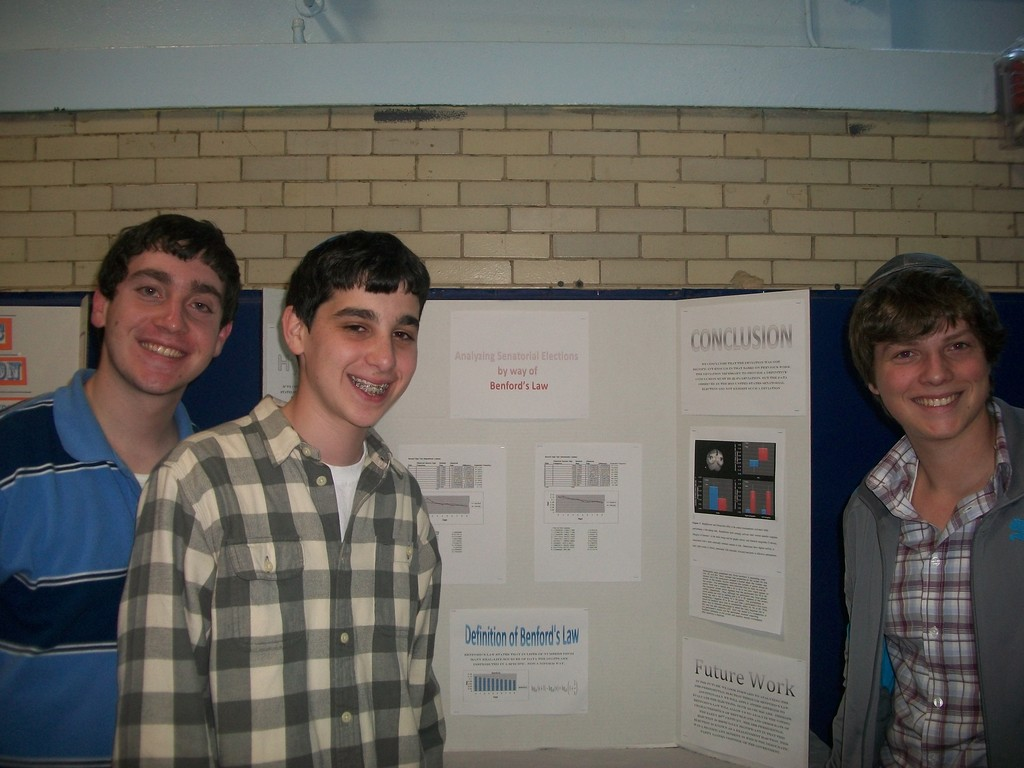 From left, 11th graders David Yedlin, Avery Feit, Justin Merkin at HAFTR's science fair.