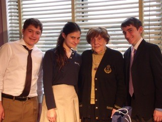 Left to right: David Rubin,  Mikayla Fuchs, Erika Drellich, (Holocaust survivor) and Justin Lish.