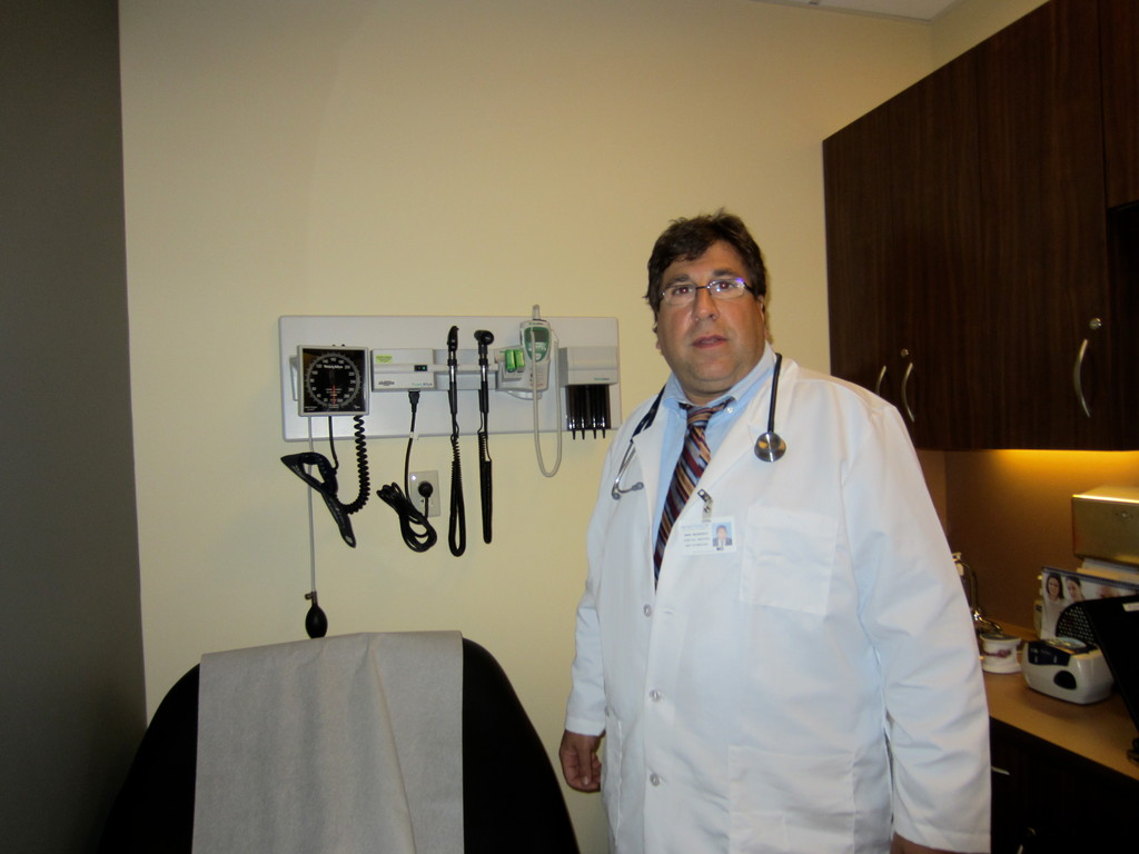 Marc Wilkenfeld, M.D., Chief, Division of Occupational and Environmental Medicine at Winthrop-University Hospital in one of the new examining rooms there.