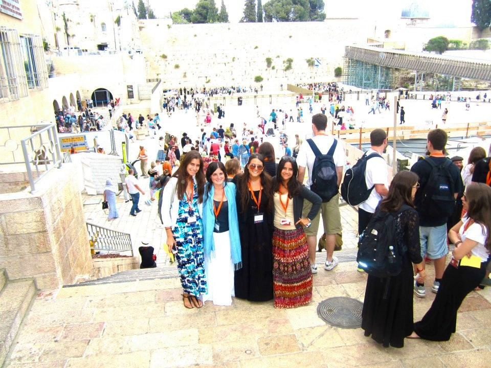 Ashley (second from right) and friends at the Western Wall