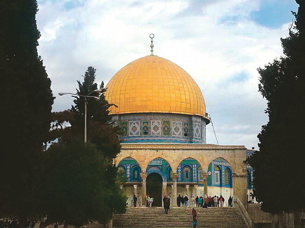 The Temple Mount which sits above the Western Wall.