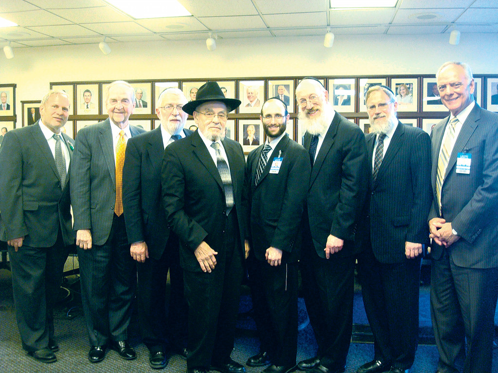 From left, Rabbi Harold Stern, Jewish Chaplain, Calvary; Michael J. Brescia, MD, Executive Medical Director; Calvary; Rabbi Herschel Schachter; Rabbi Moshe Tendler;Rabbi Rachmiel Rothberger, Jewish Chaplain, Calvary; Rabbi Mordechai Willig; Rabbi Yaakov Neuberger, Frank A. Alamari, President &CEO Calvary