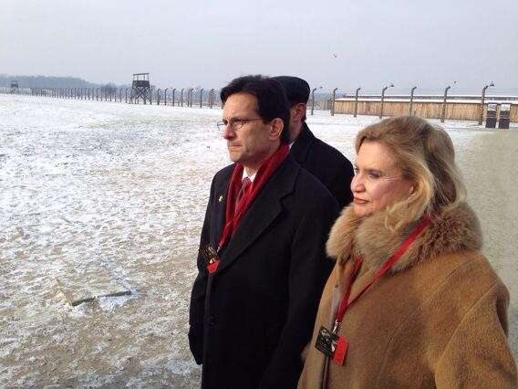 Reps. Carolyn Maloney and Eric Cantor at Auschwitz/Birkenau on 69th anniversary of the liberation of the death camp, in 2014.