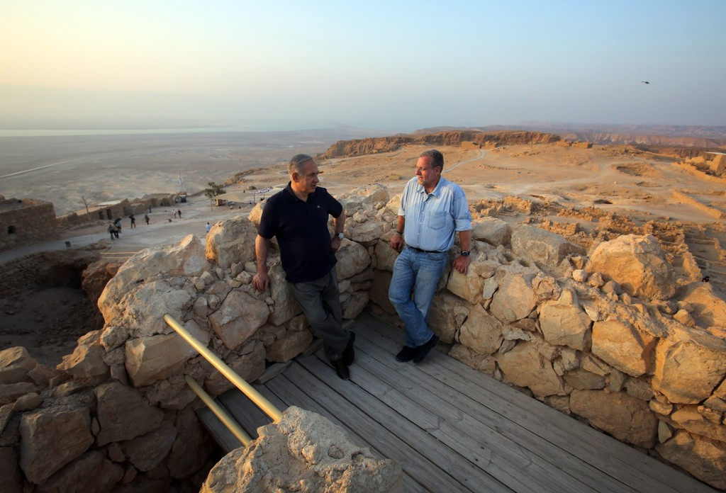 Peter Greenberg accompanied by Prime Minister Benjamin Netanyahu at sunrise on Masada.