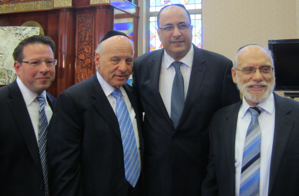 At Solidarity Rally for Har Hazeitim. From right, Charles Miller, Menachem Lubinsky co-chairman, Israel
