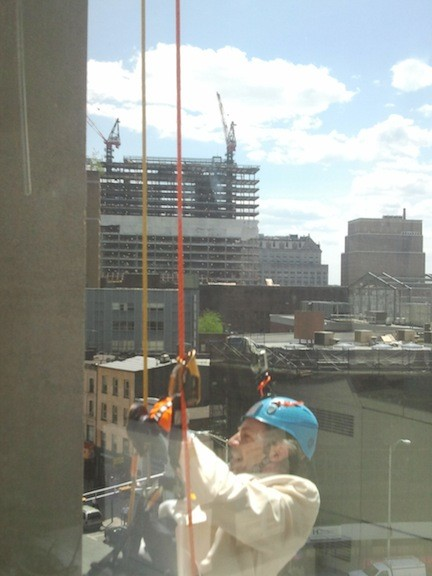 Jonathan Nierenberg as 007 over Newark rappels down a building to raise money for Ohel.