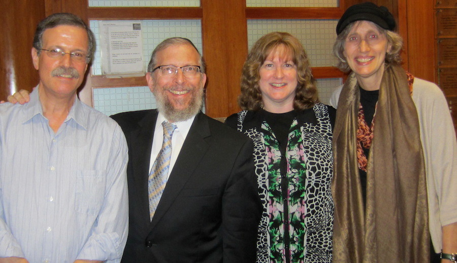 From left: Dan Gettinger, Rabbi Elimelech Goldberg, Ruthie Goldberg, and Roberta Gettinger on Saturday night. They are seeking volunteers to bring the program to LIJ Hospital.