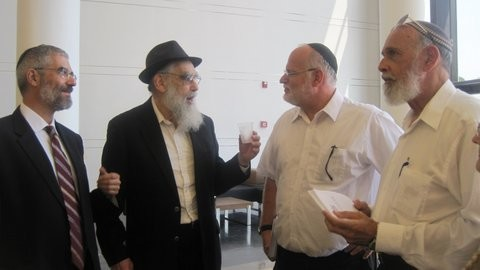 Visiting Tel Hashomer Hospital, from left, Rabbi Reuven Tradburks,Rabbi Emanuel Feldman,Rabbi Steven Pruzansky,and Rabbi David Mescheloff.