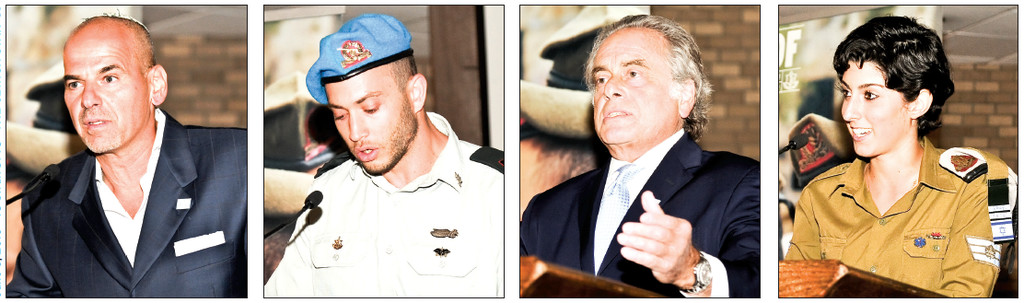 From left: FIDF Long Island Chairman Ronny Ben-Josef; Captain Aharon leads a prayer for the IDF soldiers; event emcee and prominent attorney from the Five Towns, Ben Brafman; hero of Protective Edge, and Staff Sergeant (Reserve) Elle.