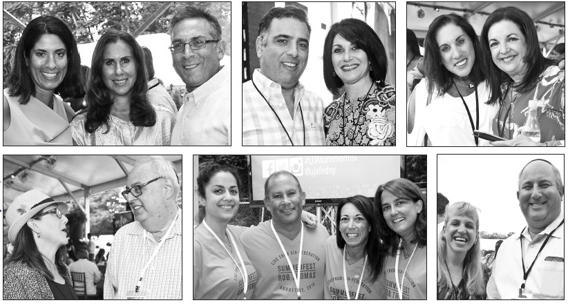 From left: (top row) Chavie Kahn with friends Leslie and Josh Wanderer of Lawrence; Robert and Wendy Frucher of Lawrence; Barbara Weiler and Susan Schlaff of North Woodmere. (bottom row) Jewish Star Advertising Director Celia Weintrob with Five Towns UJA leader Irwin Gershon; Lindsay Monin of Woodmere with fellow volunteers Jeffrey Cohen, Jodi Cohen and Jennifer Naiburg; Judy and Aaron Rosenfeld of West Hempstead.