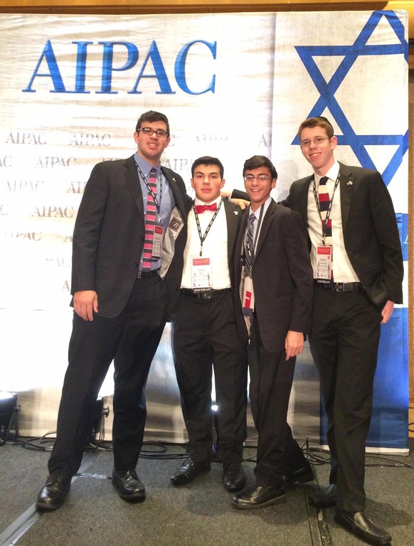 Rambam Mesivta students go to Washington (from left): Avraham Sosnowik, Yoni Meiri, Elly Marcus, Aharon Goldblatt.
