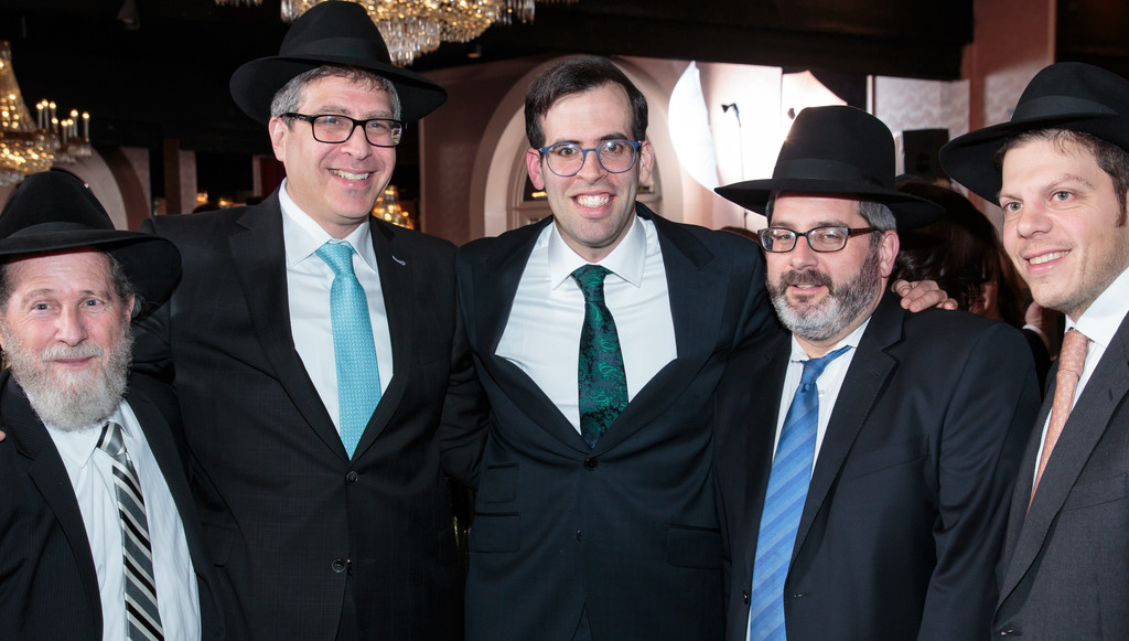 From left: Michael Krengel, Yoeli Steinberg of Gourmet Glatt, Rabbi Bender and Rabbi Aron Rosenberg.