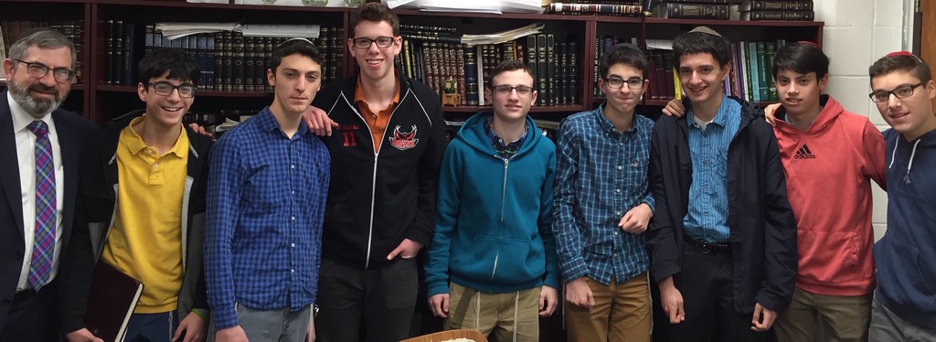 "Davis Renov Stahler's mock trial team enjoyed an undefeated season and made it to the ""Sweet 16"" of the Nassau County schools competition. From left: Yehuda Benhamu, Nathan Peyman, Benyamin Bortz, Sruli Fruchter, Eli Perl and Eitan Kaszovitz."