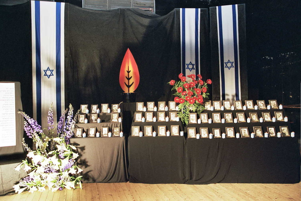 A stage is set for a Yom Hazikaron ceremony in Israel.
