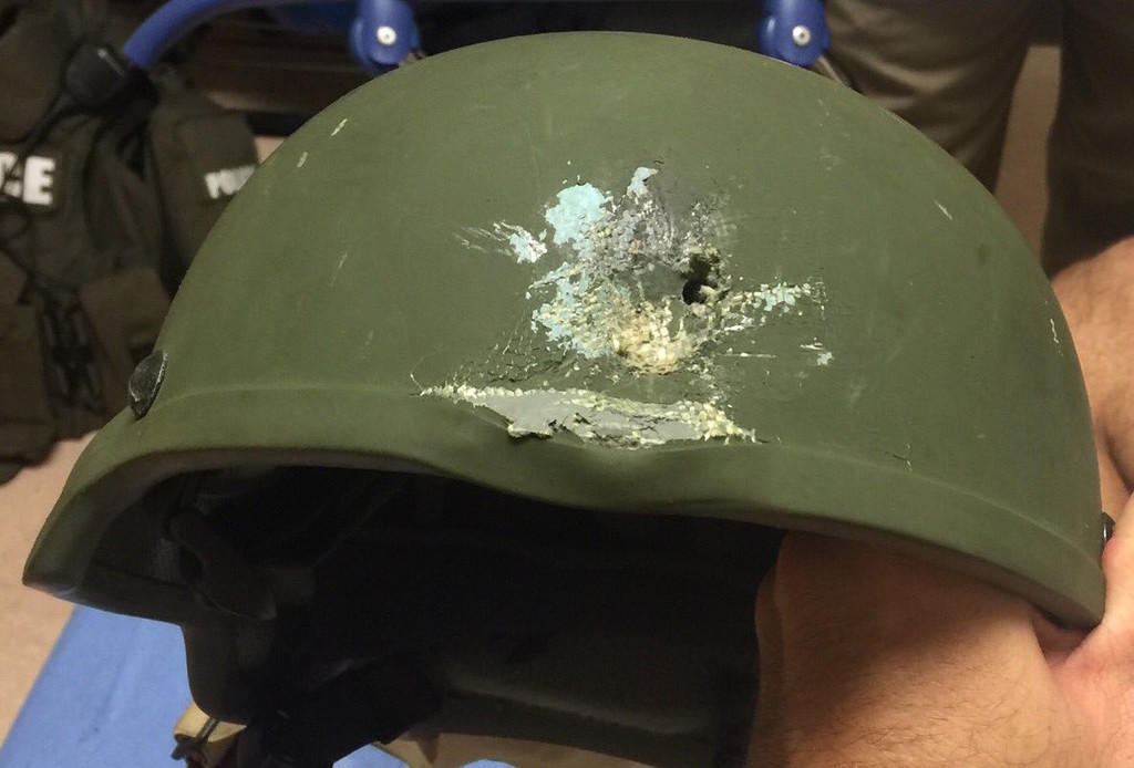 This Kevlar helmet saved the life of an Orlando police officer who confronted the nightclub gunman.