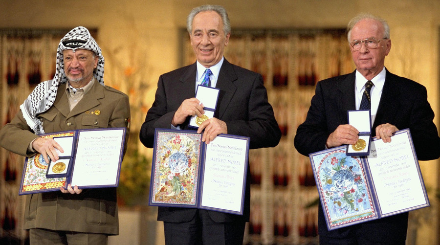 Nobel Peace Prize laureates for 1994 in Oslo (from left): PLO Chairman Yassar Arafat, Israeli Prime Minister Yitzhak Rabin, and Foreign Minister Shimon Peres.