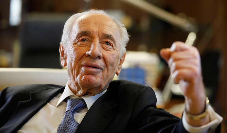 President Shimon Peres during an interview in the President house in Jerusalem on April 10, 2013.
