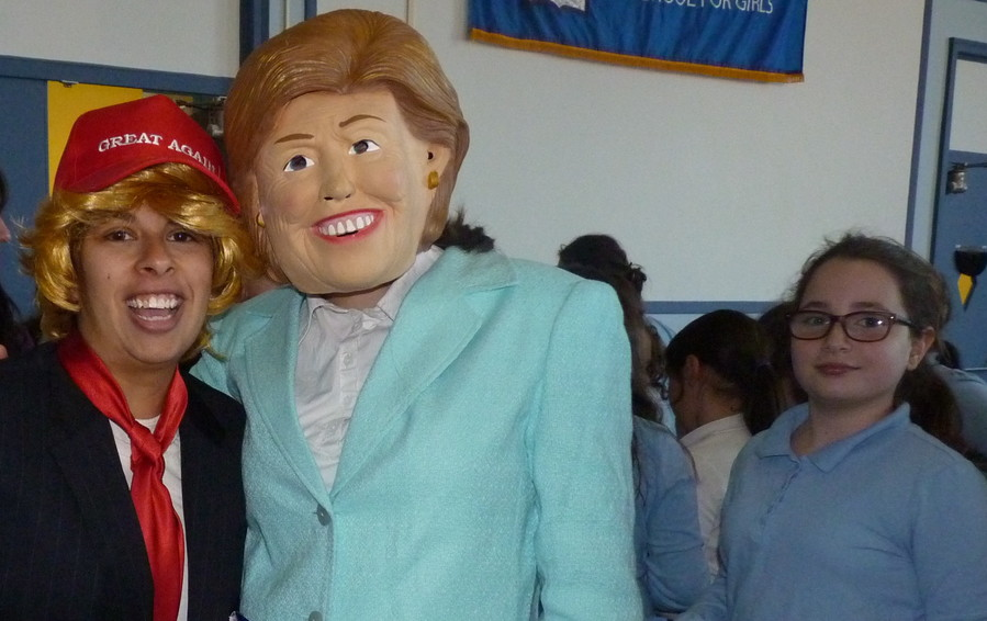 At the Shulamith School for Girls, Mrs. Danyel Goldberg played Hillary Clinton and Mrs. Rivky Markowitz played Donald Trump.