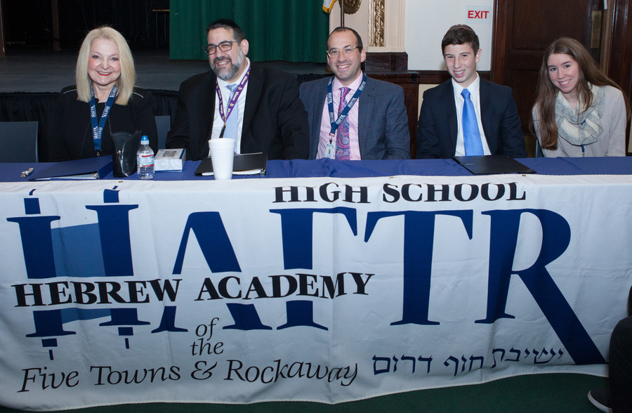 A panel of HAFTR's leaders —Naomi Lippman, Rabbi Gedlaiah Oppen, Joshua Wyner, Ethan Oliner and Rachel Sacks — at the high school's open house.
