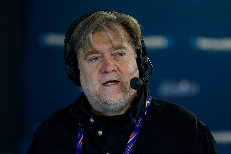 Stephen K. Bannon talks about immigration issues with a caller while hosting Brietbart News Daily on July 20, 2016.
