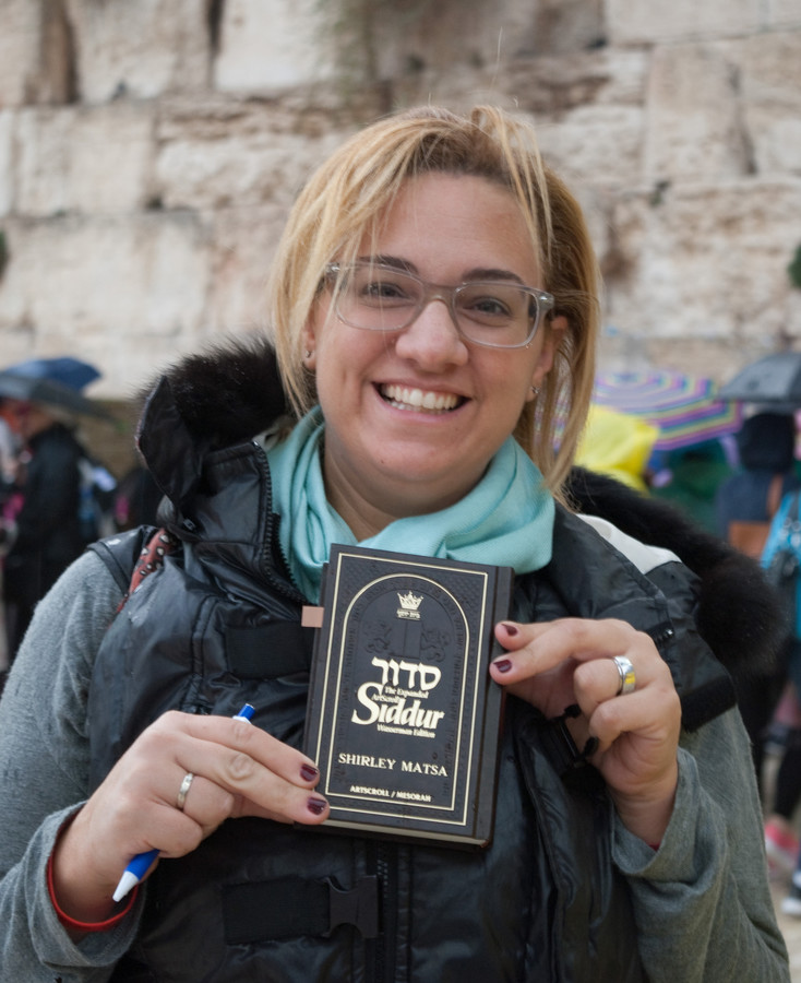 Shirley Matsa, of Greece, at the Kotel during a Jewish Women's Renaissance Project visit.