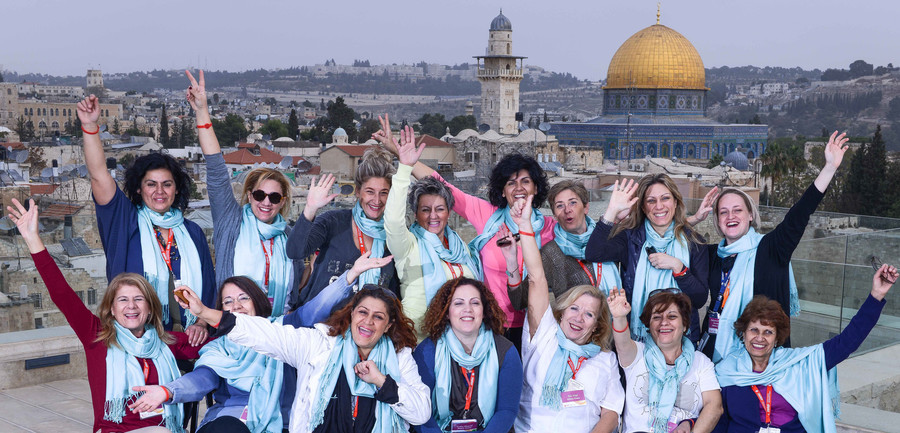 This Greek delegation to the Jewish Women's Renaissance Project visited Jerusalem in 2015.