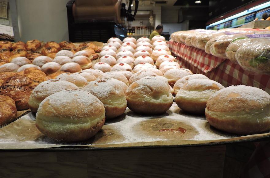 Sufganiyot on display in Jerusalem's Central Bus Station.