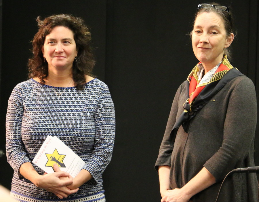 Lori R. Weintrob, director of the Holocaust Education Center at Wagner College (left) and Theresa McCarthy, Professor of Theater at Wagner College..