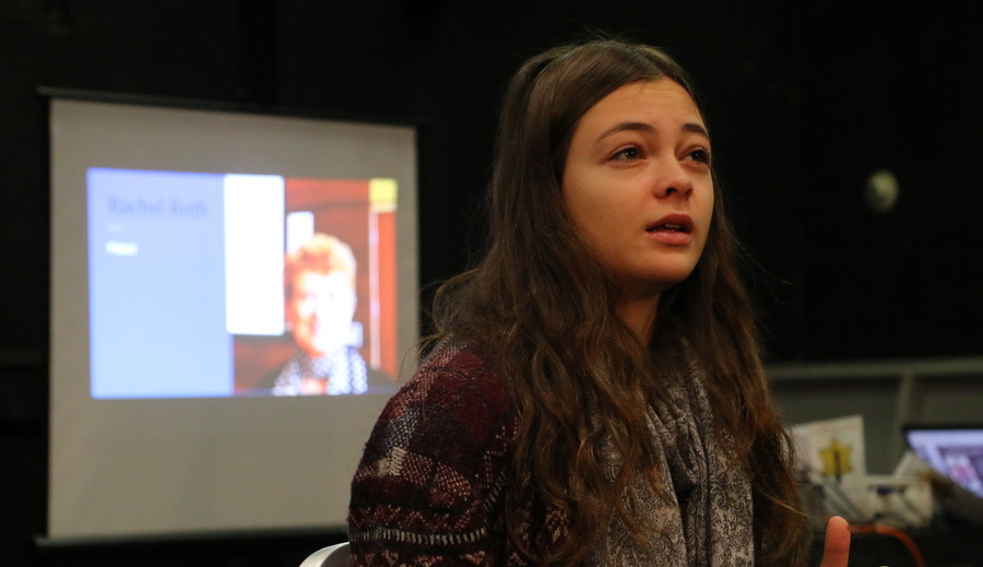 Wagner student Anais Mazic portrays Rachel Roth (of Warsaw ghetto, Auschwitz survivor), whose picture is displayed in the background.