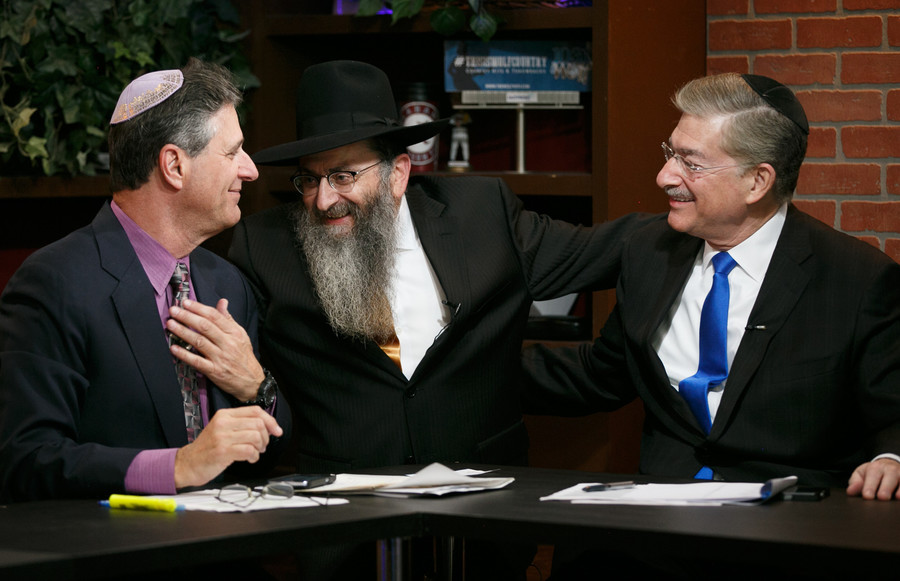 Co-host David Weiss (WINS news anchor), Rabbi Perl, and Kive Strickoff