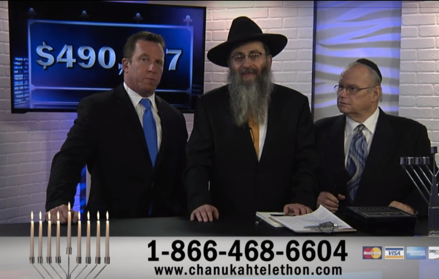 Co-host Jay Oliver (host of LI News Radio), Rabbi Perl, and co-host Mickey B