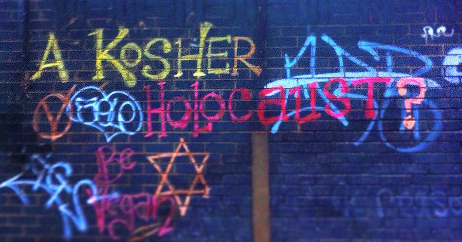 Anti-shechita protesters in London sprayed Holocaust-themed graffiti on a Jewish slaughterhouse.