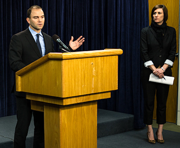 Deputy National Security Adviser Ben Rhodes, who constructed the Obama administration's communications strategy around the Iran nuclear deal, addresses the media in January 2014.