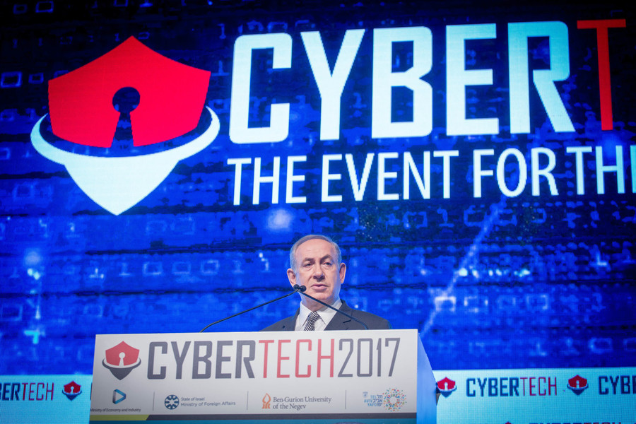 Prime Minister Netanyahu speaks at the Cybertech conference in Tel Aviv.