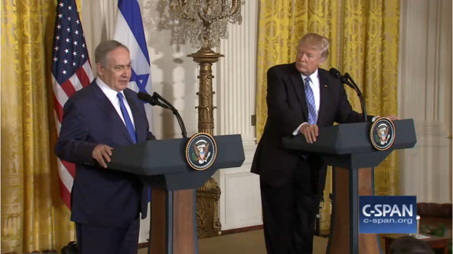 Prime Minister Benjamin Netanyahu speaking at a joint news conference with President Donald Trump at the White House on Wednesday.
