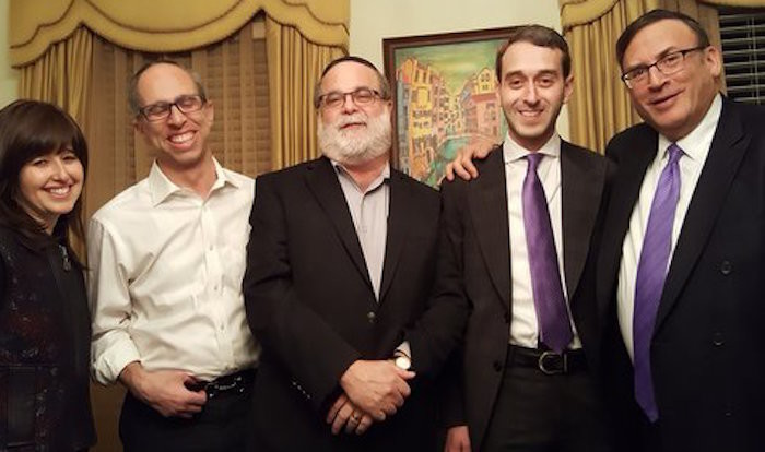 At CAHAL's Sunday evening event, from left: Drs. Ari and Suri Weinreb, Sheldon Ehrenreich, Rabbi Moshe Rudich and Rabbi Wallerstein.