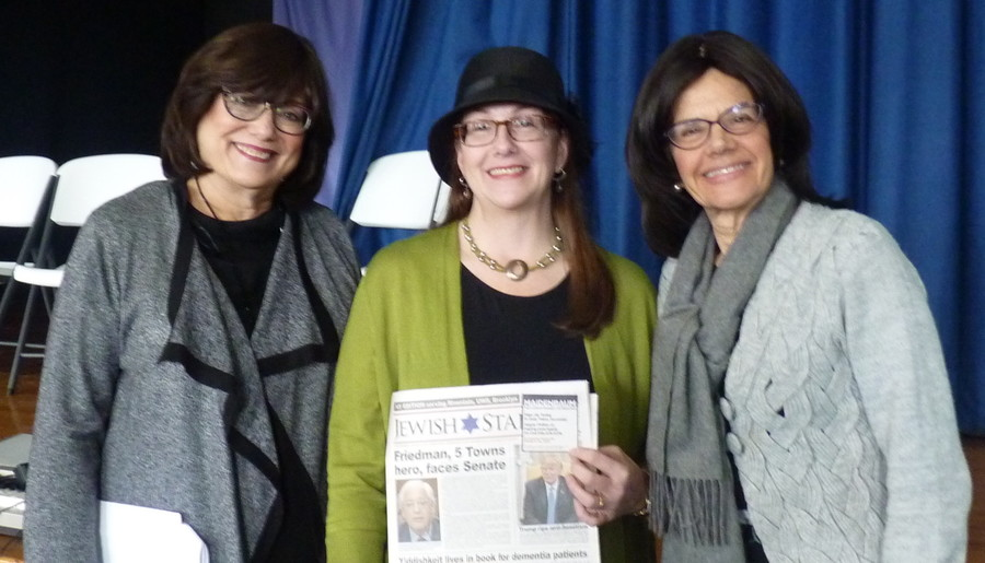 Participating in literacy week at the Shulamith School for Girls, Celia Weintrob from The Jewish Star is flanked by Dr. Evelyn Gross, associate principal of Shulamith Middle Division (left) and Rookie Billet, principal of the Middle Division.