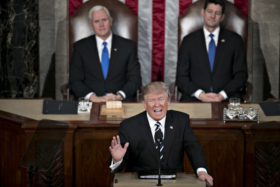 President Trump addressing a joint session of Congress in the House of Representatives chamber on Feb. 28.