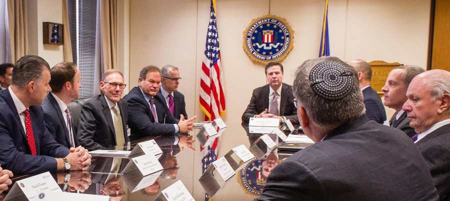Jewish leaders meet March 3 with FBI Director James Comey and other officials to discuss the recent wave of anti-Jewish threats and attacks in the U.S. Conference of Presidents of Major American Jewish Organizations.