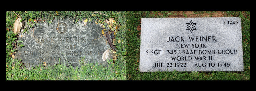 Photo illustration comparing Staff Sgt. Jack Weiner's previous headstone and his corrected headstone.